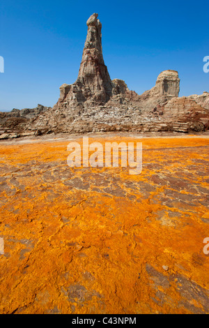 Dallol, Africa, Ethiopia, Afar region, Afgar, Danakil, desert, acid volcano, salt depositions, minerals, colors, - Stock Photo
