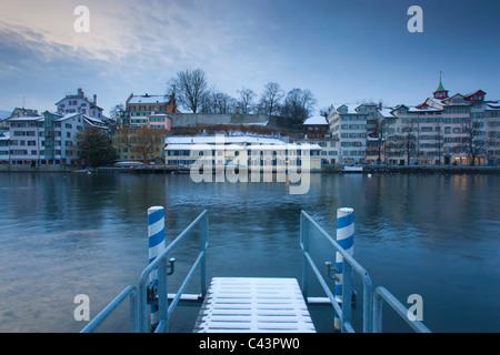 Zurich, Switzerland, canton Zurich, town, city, Old Town, river, flow, Limmat, riverside, landing stage, footbridge, - Stock Photo