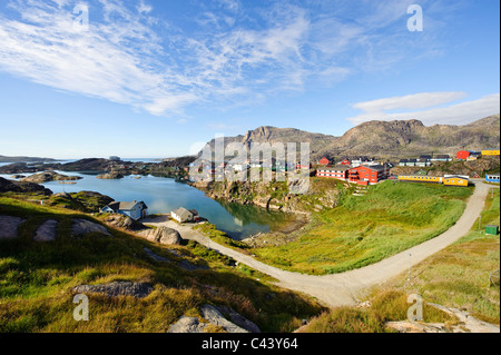 Greenland, Europe, Sisimiut, town, city, west coast, bay, houses, homes, way, place, scenery - Stock Photo