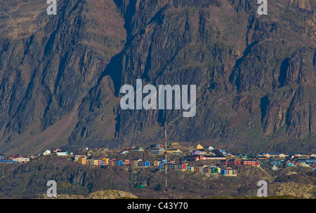 Greenland, Europe, Sisimiut, town, city, west coast, cliff wall, houses, homes, buildings, constructions, rocks, - Stock Photo