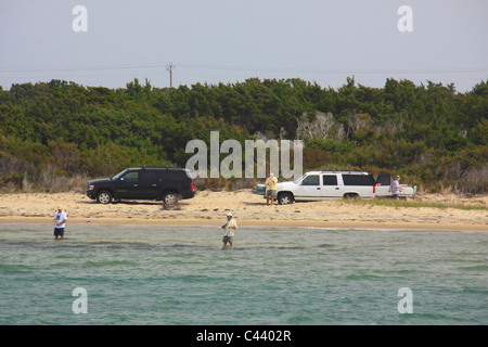 SurFishing, Cape Hatteras National Seashore, Pamlico Sound, Outer Banks, North Carolina, USA - Stock Photo