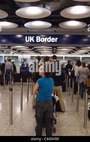 Immigration - Terminal 5 - Heathrow  Airport - London - Stock Photo