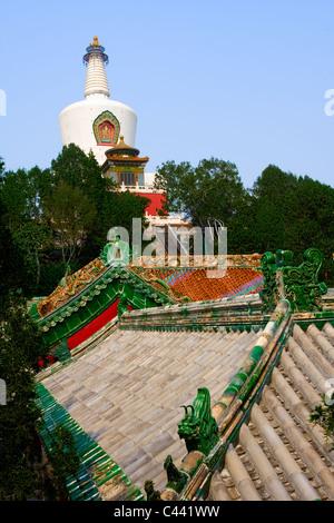 White Dagoba at Beihai park in Beijing, China - Stock Photo