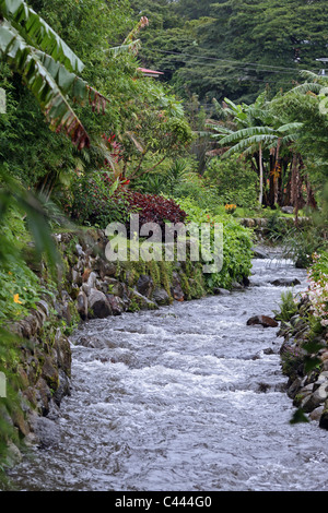 Small stream flowing through the center of the town. Boquete, Chiriqui, Panama, Central America - Stock Photo