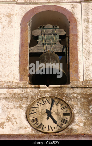 Portugal. Silves Cathedral (15th century). Bell tower detail. Algarve. - Stock Photo