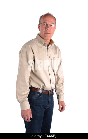 Studio shot, release, cut-out, background, white, portrait, man, middle age, old person, glasses, uncertainly, seriously, - Stock Photo