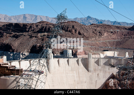 Hoover dam, dam, reservoir dam, power lines, Lake Mead National Recreation Area, Nevada, March, USA, North America, - Stock Photo