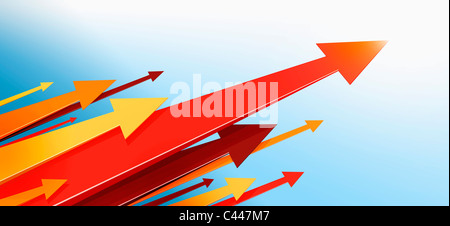 A large group of arrows pointing upwards - Stock Photo