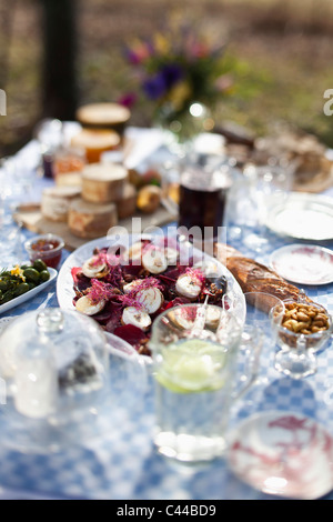 Dining table outside with focus on a dish of goat's cheese and pickled pears - Stock Photo