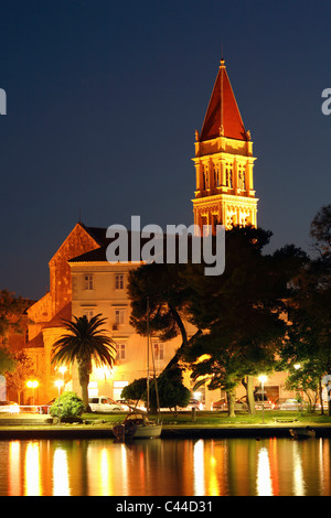 Illuminated Cathedral  of st. Lawrence in Trogir town - Stock Photo