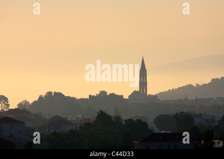 Silhouette of Cathedral  of st. Lawrence in Trogir town - Stock Photo