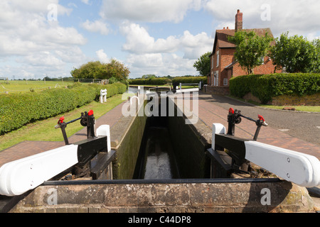 The Bratch Locks on the Staffs & Worcs canal in Wombourne - Stock Photo