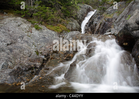 Crawford Notch State Park - Willey Brook Falls in the White Mountains, New Hampshire USA - Stock Photo