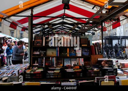 Secondhand Book stall on Cambridge Market, Cambridgeshire, England, UK - Stock Photo