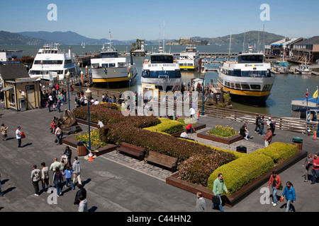 Blue and Gold Fleet Ferries at Fishermans Wharf, San Francisco with Alcatraz in background - Stock Photo