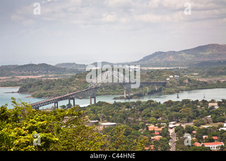 Puente de las Americas on the Pacific Side crossing the Panama Canal near Panama City - Stock Photo