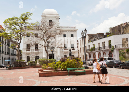 Palacio Municipal and Plaza Catedral, Casco Viejo, Panama City - Stock Photo