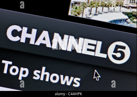 Close up of the Channel 5 logo as seen on its website. (Editorial use only: print, TV, e-book and editorial website). - Stock Photo