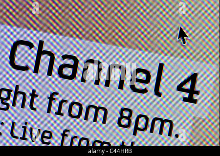 Close up of the Channel 4 logo as seen on its website. (Editorial use only: print, TV, e-book and editorial website). - Stock Photo