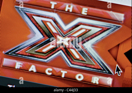 Close up of the X Factor logo as seen on its website. (Editorial use only: print, TV, e-book and editorial website). - Stock Photo