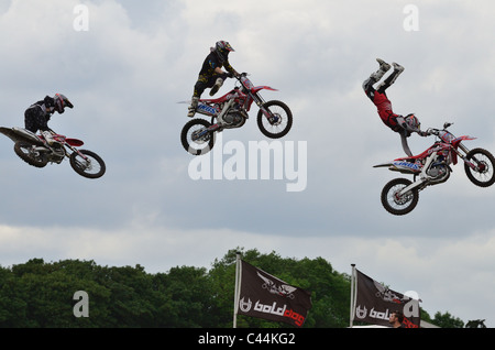 Bolddog freestyle motocross team performing at the Devon County Show, May 2011 - Stock Photo