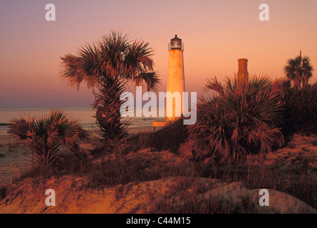 First Light of Morning Striking Cape Saint George Lighthouse in Franklin County, Florida - Stock Photo