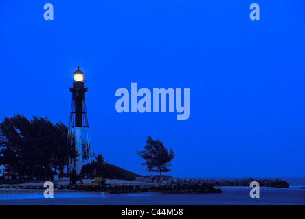 Hillsboro Inlet Lighthouse at Dusk in Broward County, Florida - Stock Photo