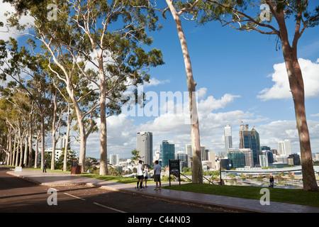 View of city skyline from Kings Park. Perth, Western Australia, Australia - Stock Photo