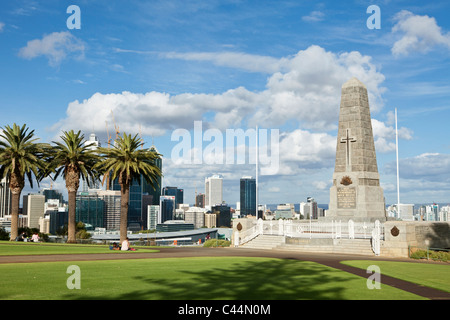 War Memorial in KIngs Park with city skyline in background. Perth, Western Australia, Australia - Stock Photo
