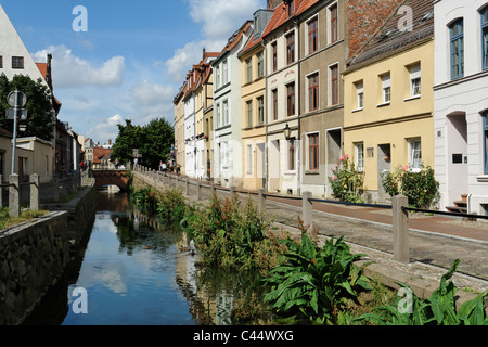 Germany, Mecklenburg-West Pomerania, Wismar, pit, river, flow, artificially, watercourse, canals, waters, plants, - Stock Photo