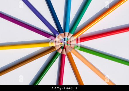 crayons, pencils, colouring, artist, pattern, colour, buntstifte, mixed, radial, circular, ring, circle, pattern, radiating