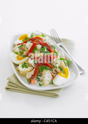 Plate of ensaladilla potato salad with boiled eggs on white background, close-up - Stock Photo