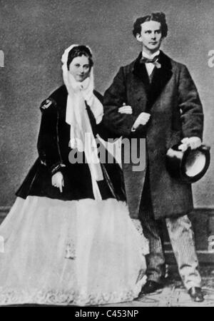 King Ludwig II of Bavaria with Sophie Charlotte, 1867 - Stock Photo