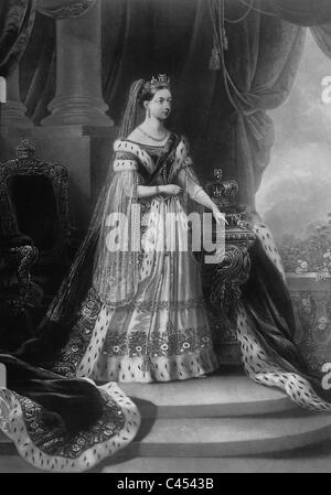 Queen Victoria of Great Britain in her coronation robes, 1838 - Stock Photo