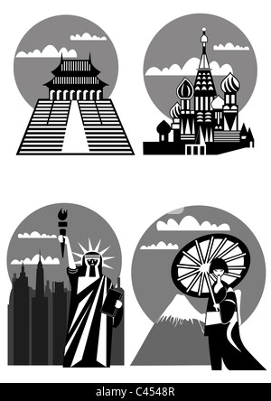 various famous landmarks and monuments - Japan, New York, Far East, Moscow - Stock Photo