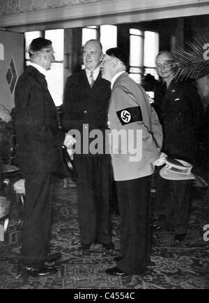 Adolf Hitler and Neville Chamberlain at Bad Godesberg, 1938. - Stock Photo