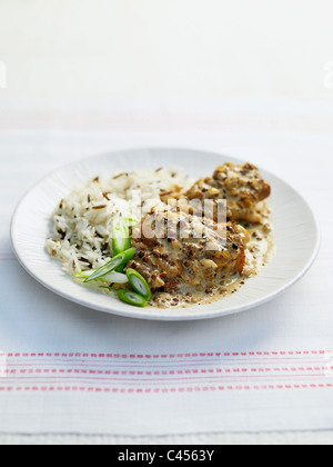 Szechuan chicken with rice, close-up - Stock Photo
