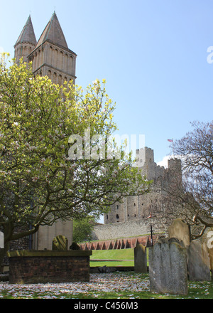 View of Rochester Castle & Cathedral - Stock Photo