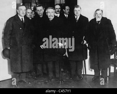 Henderson, Briand, Alexander and Dumont at a consultation in Quai d'Orsay, 1931 - Stock Photo