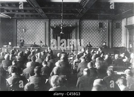 Trial against Hitler and Ludendorff on 26/02/1924. - Stock Photo