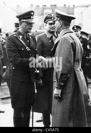 Arthur Seyss-Inquart, Rudolf Hess and Adolf Hitler, 1938 - Stock Photo