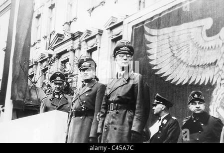 Hans Frank and Arthur Seyss-Inquart at a parade in Krakow, 1941 - Stock Photo