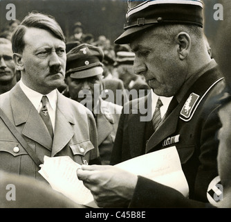 Adolf Hitler and Fritz Todt on a Nazi event - Stock Photo