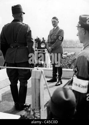 Adolf Hitler with Konstantin Hierl at the Nazi Party Rally in Nuremberg, 1934 - Stock Photo
