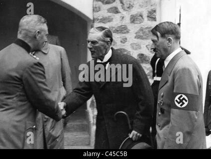Wilhelm Keitel, Neville Chamberlain, Adolf Hitler in Berchtesgaden, 1938 - Stock Photo