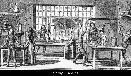 Physics lesson in 1799 - Stock Photo