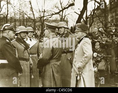 Hitler, Raeder, Fritsch, Kesselring, Blomberg, Mackensen - Stock Photo
