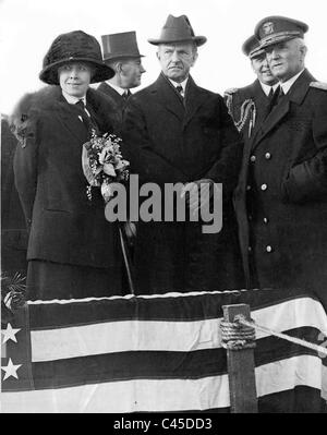 President Calvin Coolidge with his wife, Grace Coolidge and Curtis D. Wilbur, 1925 - Stock Photo
