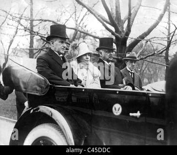 Calvin Coolidge with his wife, Grace Coolidge and consultant Curtis, 1925 - Stock Photo