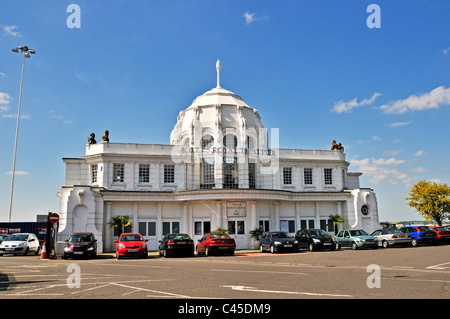 The elegant facade of the Pavilion which was once the main entrance and booking hall into the Royal Pier, Southampton - Stock Photo